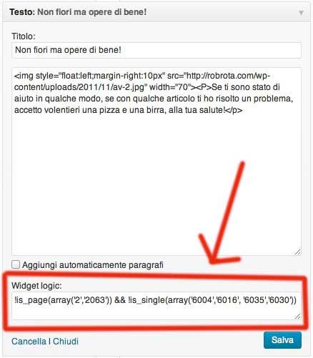 Usare il condizionale nella sidebar di WordPress con il plugin Widget Logic