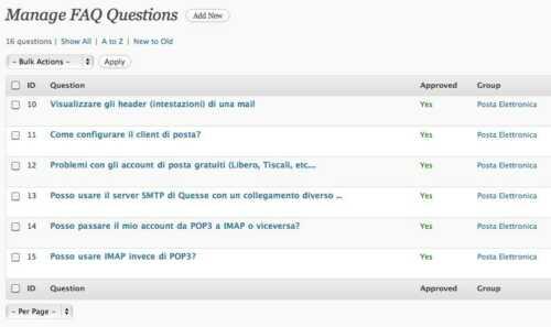 Gestire FAQ con WordPress - Lista delle domande
