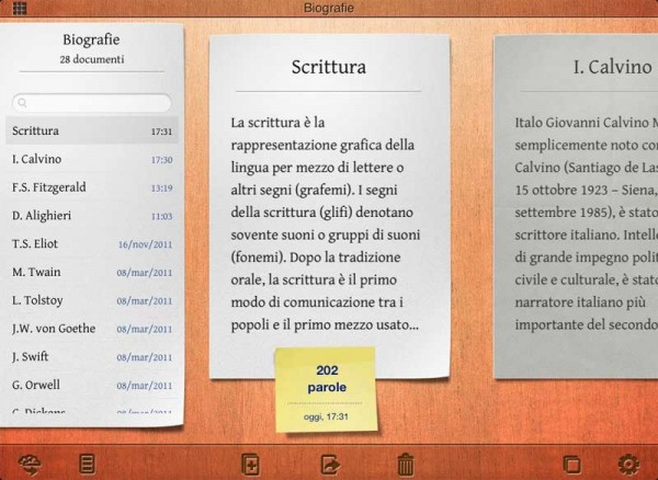 Writings editor per iPad