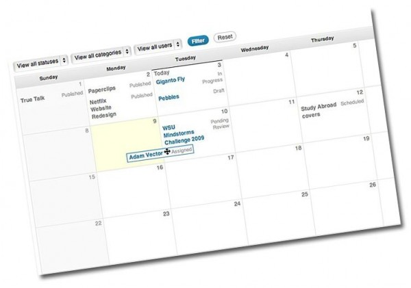 Calendario pianificazone editoriale per una redazione su WordPress con Edit Flow