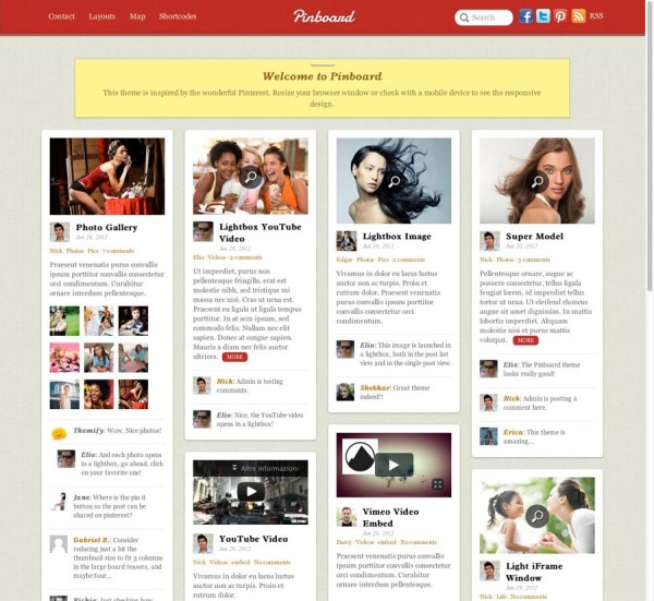 Pinboard tema Pinterest WordPress