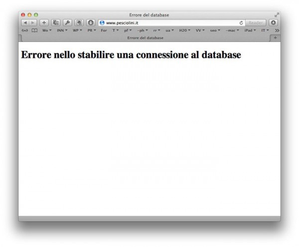 WordPress errore connessione database