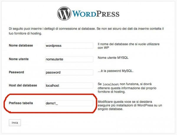 Prefissi tabelle database diversi WordPress