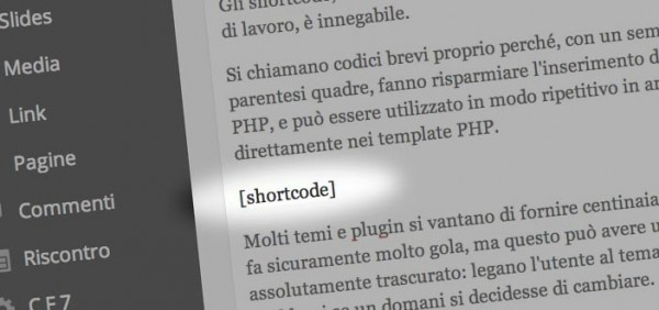 Usare shortcode in WordPress