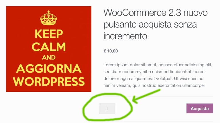 WooCommerce 2.3 senza pulsanti incremento quantità prodotti
