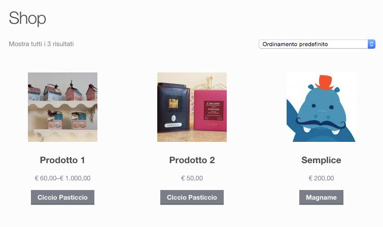 Snippet testo scegli prodotti variabili WooCommerce
