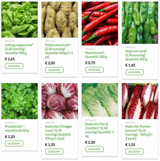 e-commerce di prodotti vegetali a chilometri zero