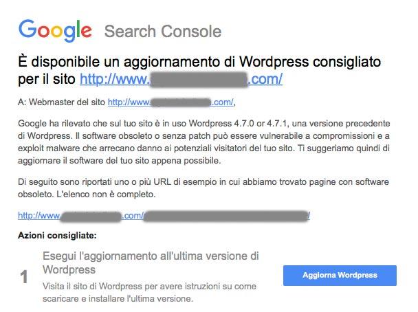 WordPress è da aggiornare