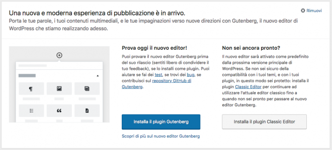 Gutenberg editor di WordPress