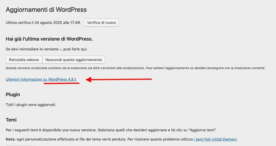 WordPress aggiornamenti nascosti