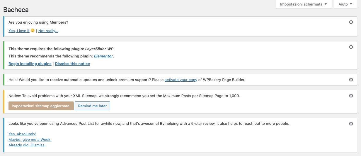 Come nascondere avvisi e notifiche nella bacheca di WordPress
