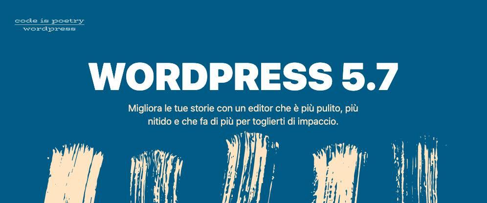 Aggiornamento WordPress 5.7